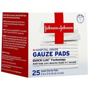 Johnson and Johnson 2 Inch x 2 Inch hospital Grade  Gauze Pad, 25 Count (Pack of 2)