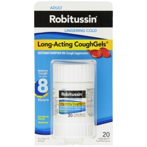 Robitussin Lingering Cold Long-Acting Coughgels, 20-count
