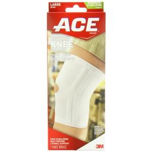 ACE Knitted Knee Brace with Side Stabilizers, Large