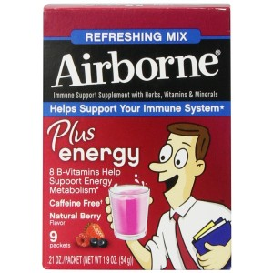 Airborne Plus Energy Vitamin C 1000mg and Vitamin B Immune Support Supplement, Powder Packets, Berry, 9 Count