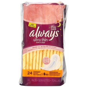 Always Ultra Thin Overnight Deodorizing Pads With Wings 24 Count