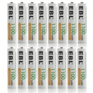 EBL 16 Pack 1100mAh AAA Rechargeable Batteries with Storage Cases