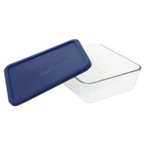 Pyrex Storage 11-Cup Rectangular Dish with Dark Blue Plastic Cover, Clear