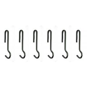Enclume Angled Pot Hook, Set of 6, Use with Pot Racks, Hammered Steel