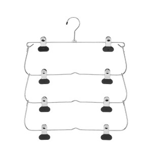 Whitmor 6021-185 Ebony Chrome Collection 4-Tier Folding Skirt Hanger