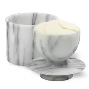 Norpro Marble Butter Keeper, Off-White