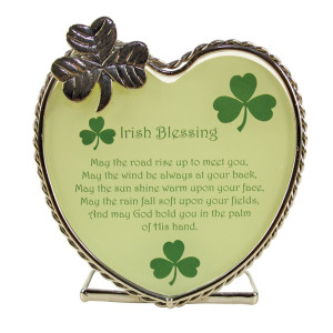 "Irish Candle Holder with Irish Blessing and Shamrocks. Gift for Any Occasion. Verse Reads ""May the Road Rise up to Meet You, May the Wind Be Always"