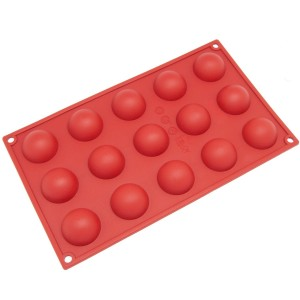 Freshware SM-100RD 15-Cavity Silicone Mini Half Sphere Chocolate, Candy and Gummy Mold