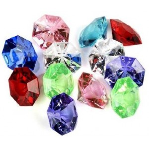 Package of 36-Multi Colored 25 Carat Acrylic Diamonds For Weddings, Parties and More