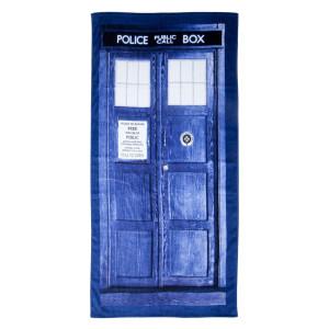 "Doctor Who TARDIS Door Cotton Beach or Bath Towel (59""  long x 29 1/2""  wide)"