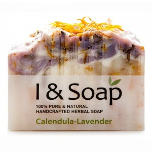 I and SOAP, Calendula-Lavender Soap - 100% Natural and Organic Materials - Handcrafted Herbal Soap - Gentle and Effective Facial, Hand and Body Clean