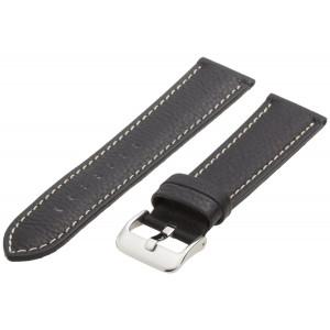 Hadley-Roma Men's MSM906RA-220 22-mm Black Genuine Leather Watch Strap