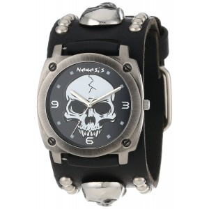 Nemesis Men's MSK926K Punk Rock Collection Black Heavy Duty Skull Leather Band Watch