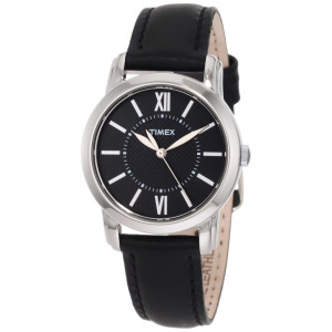 Timex Women's T2N6819J Style Classic Black Leather Strap Watch