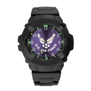 Aqua Force US Air Force Logo 47mm Diameter Quartz Watch, Black with Purple Face