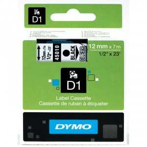 DYMO High-Performance Permanent Self-Adhesive D1 Polyester Tape for Label Makers, 1/2-inch, Black Print on Clear, 23-foot Cartridge (45010)