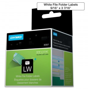 DYMO 30327 LabelWriter Self-Adhesive File Folder Labels, 9/16- by 3 7/16-inch, White, Roll of 130, 2-Pack