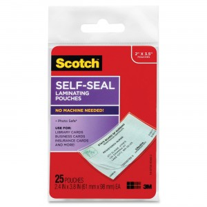 Scotch Self-Sealing Laminating Pouches, 25-Pack (LS851G), Business Card Size