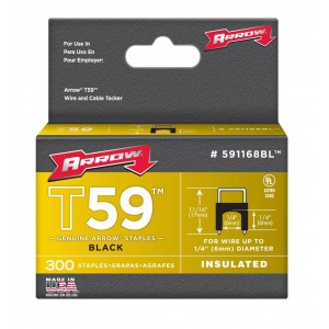 Arrow 591168BL Genuine T59 Insulated Black 1/4-Inch by 1/4-Inch Staples, 300-Pack
