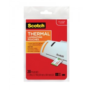Scotch TP5851-20 Thermal Laminating Pouches, 2.3 Inches x 3.7 Inches, 20 Pouches