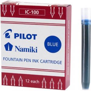 Pilot Namiki IC100 Fountain Pen Ink Cartridge, Blue, 12 Cartridges per Pack (69101)