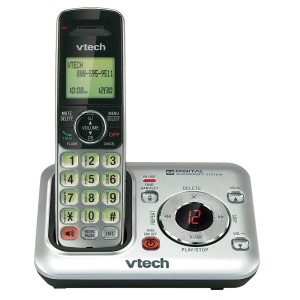 VTech CS6429 DECT 6.0 Expandable Cordless Phone with Answering System and Caller ID/Call Waiting, Silver with 1 Handset