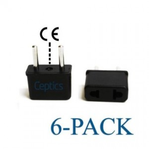 Ceptics USA to Europe Asia Plug Adapter High Quality - CE Certified - RoHS Compliant - 6 Pack