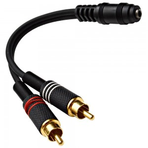 """Seismic Audio - SA-i2RM1E - Female 1/8""""  (3.5mm) to Male RCA Patch Cable - For iPhone, iPod, Laptop, MP3, Android, etc - Hook to guitar and power amp"""
