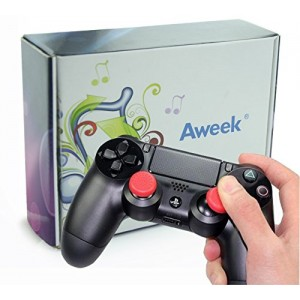 Aweek Silicone Thumb Stick Grip Cap Cover for Sony PlayStation 4 Controller (Red, 5 Pair)