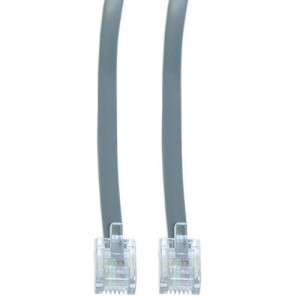 CableWholesale 50-Feet RJ11, 6P/4C, Flat 1:1 Data Cable, Silver Satin (8101-64150)
