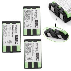 EBL Pack of 3 HHR-P104 Rechargeable Cordless Phone Replacement Batteries for Panasonic HHR-P104 HHR P104, HHR-P104A HHR P104A, 3.6V 900mAh Ni-MH