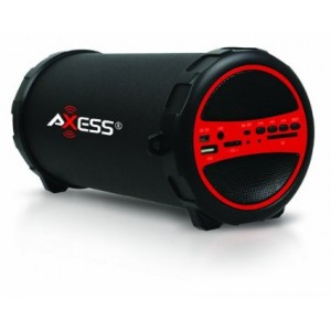 Axess SPBT1031-RD Portable Bluetooth Indoor/Outdoor Hi-Fi Cylinder Loud Speaker with SD Card and USB Input in Red Color
