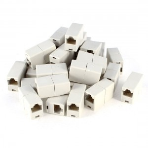 Off White Dual Connector RJ45 Modular Network Coupler Adapter 20 Pcs