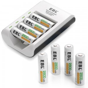 EBL 8 Packs AA 2800mAh Rechargeable Battery with 4 Bay / Slot Individual Battery Charging Support AA AAA Rechargeable Battery Charger