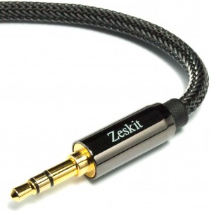 Zeskit 4' Premium Audio Cable - 3.5mm, Braided Nylon Stereo Audio Cable (Male to Male)