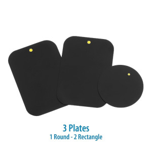 Mount Metal Plate with Adhesive for Magnetic Cradle-less Mount -X4 Pack 2 Rectangle and 2 Round (Compatible with WizGear mounts)
