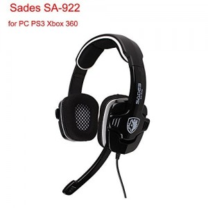 [ New Version of Sades 902 ] AFUNTA Sades SA-922 7.1 Channel Stereo Surround Sound Effect USB Gaming Headphone with hidden Mic for PC PS3 XBOX - Blac