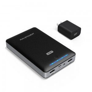 RAVPower Portable Charger Deluxe 16000mAh External Battery Pack Power Bank with iSmart Technology (Dual USB, 5V / 4.5A, FREE 2A Adapter, multiple-lev