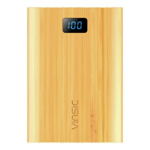 Power Bank, VINSIC 12000mAh Portable Power Bank, 5V 4A 3 USB Ports with Smart Power Technology Bamboo External Mobile Battery Charger Pack for iPhone