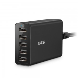 Anker PowerPort 5 (40W 5-Port USB Charging Hub) Multi-Port USB Charger for iPhone 6 / 6 Plus, iPad Air 2 / mini 3, Galaxy S6 / S6 Edge and More (Blac