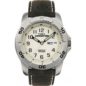 Timex Men's EXPEDITION Brown Leather Strap Watch #T46681