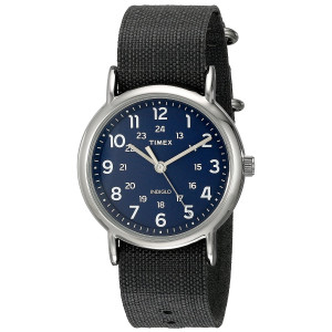 Timex Unisex TW2P657009J Weekender Silver-Tone Watch with Black Nylon Band