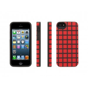 Red MeshUps Silicone + Polycarbonate Case for iPhone 5