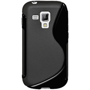 Amzer AMZ95155 Dual Tone TPU Hybrid Skin Fit Case Cover for Samsung Galaxy S Duos S7562 - 1 Pack - Retail Packaging - Black