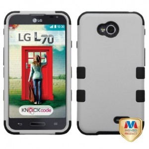 MyBat Rubberized TUFF Hybrid Phone Cover for LG VS450PP Optimus Exceed 2/MS323 Optimus L70 - Retail Packaging - Black/Gray