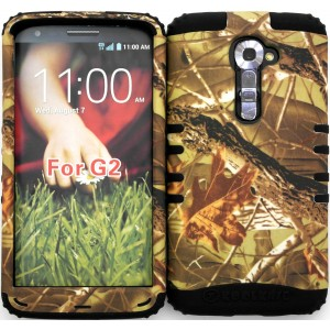 Wireless Fones TM High Impact Hybrid Rocker Case for LG G2 VS980 (Verizon only) Mossy Camouflage Exclusive Camo on Black Silicone