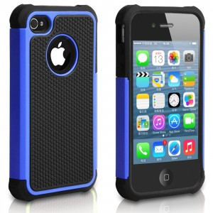 Pasonomi iPhone 4 Case-Premium Heavy Duty Hybrid Shockproof Durable Bumper Armor Cover for Apple iPhone 4S/4(Blue)