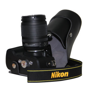 """MegaGear """"Ever Ready""""  Black Leather Camera Case for New Nikon D5200 Cameras with 18-55mm VR Lens"""