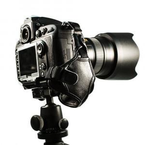 FotoTech Sony a7 a7R Mirrorless Digital Camera Professional 100% GENUINE LEATHER Hand Wrist Strap Grip with FotoTech Velvet Bag