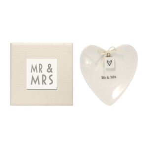 East of India Mr and Mrs Heart-Shaped Ring Dish in Gift Box, Porcelain